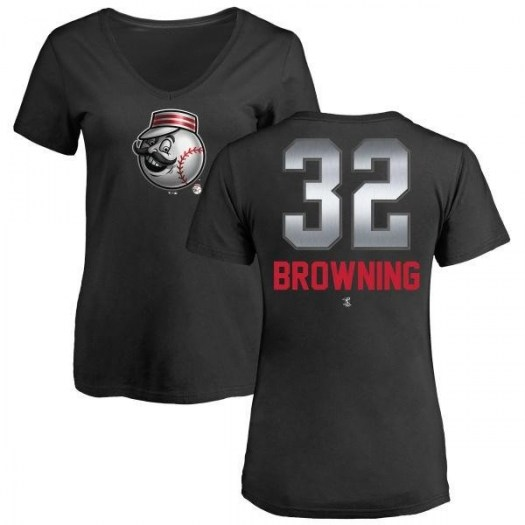 Tom Browning Cincinnati Reds Women's Black Midnight Mascot V-Neck T-Shirt -