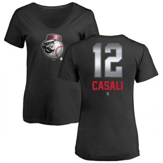 Curt Casali Cincinnati Reds Women's Black Midnight Mascot V-Neck T-Shirt -