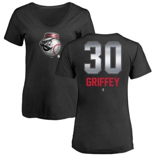 Ken Griffey Cincinnati Reds Women's Black Midnight Mascot V-Neck T-Shirt -