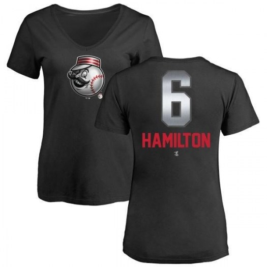 Billy Hamilton Cincinnati Reds Women's Black Midnight Mascot V-Neck T-Shirt -