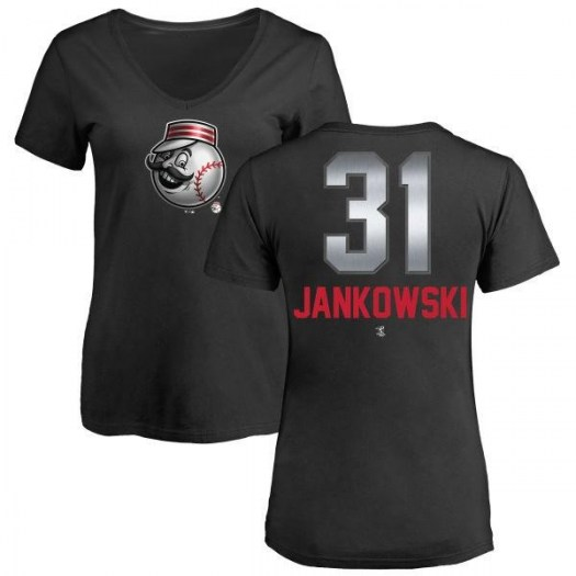 Travis Jankowski Cincinnati Reds Women's Black Midnight Mascot V-Neck T-Shirt -