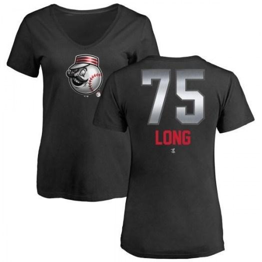 Shed Long Cincinnati Reds Women's Black Midnight Mascot V-Neck T-Shirt -