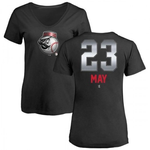 Lee May Cincinnati Reds Women's Black Midnight Mascot V-Neck T-Shirt -