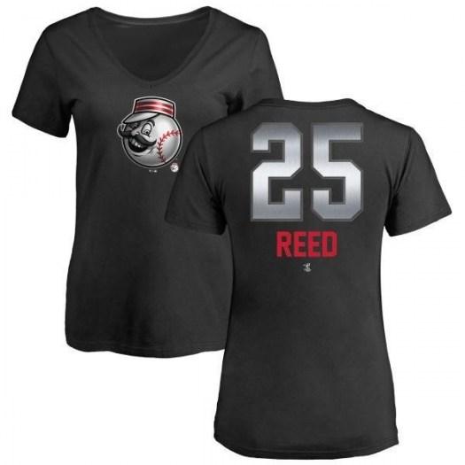Cody Reed Cincinnati Reds Women's Black Midnight Mascot V-Neck T-Shirt -