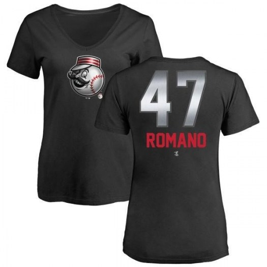 Sal Romano Cincinnati Reds Women's Black Midnight Mascot V-Neck T-Shirt -