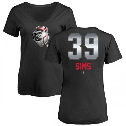 Lucas Sims Cincinnati Reds Women's Black Midnight Mascot V-Neck T-Shirt -