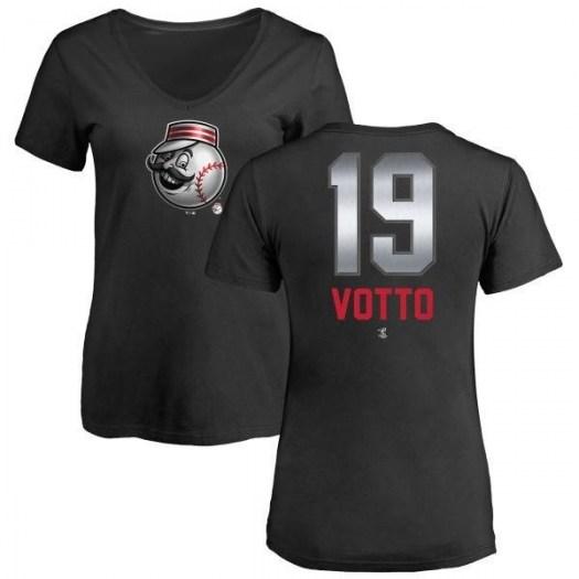 Joey Votto Cincinnati Reds Women's Black Midnight Mascot V-Neck T-Shirt -