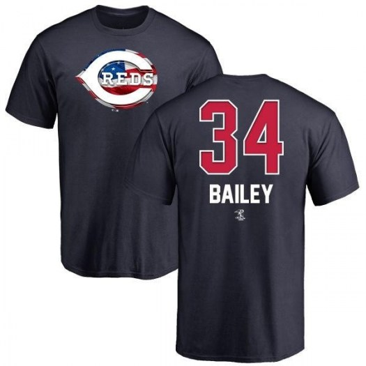 Homer Bailey Cincinnati Reds Men's Navy Name and Number Banner Wave T-Shirt -