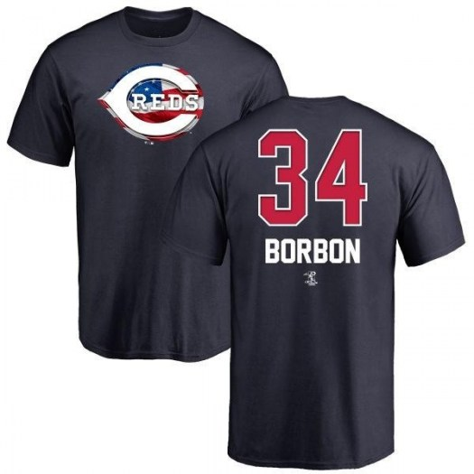 Pedro Borbon Cincinnati Reds Men's Navy Name and Number Banner Wave T-Shirt -