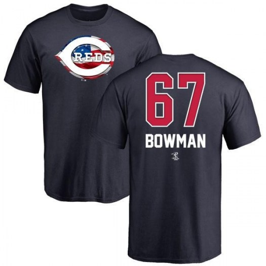 Matt Bowman Cincinnati Reds Men's Navy Name and Number Banner Wave T-Shirt -