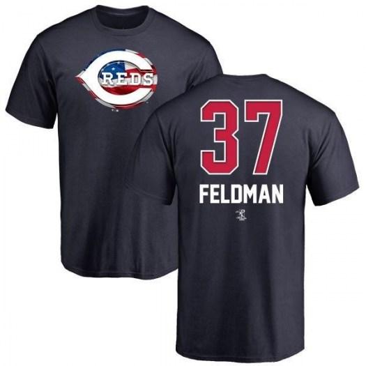 Scott Feldman Cincinnati Reds Men's Navy Name and Number Banner Wave T-Shirt -