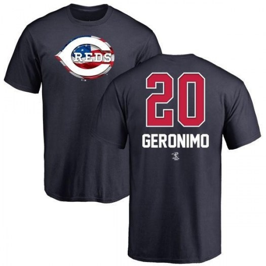 Cesar Geronimo Cincinnati Reds Men's Navy Name and Number Banner Wave T-Shirt -