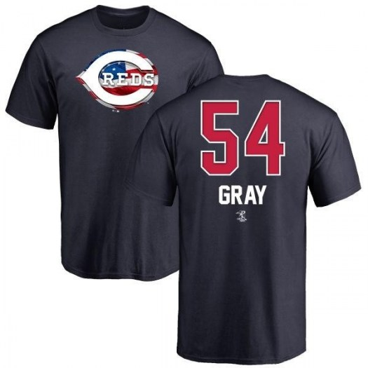 Sonny Gray Cincinnati Reds Men's Gray Name and Number Banner Wave T-Shirt - Navy