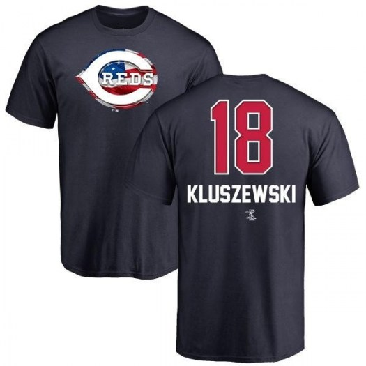 Ted Kluszewski Cincinnati Reds Men's Navy Name and Number Banner Wave T-Shirt -