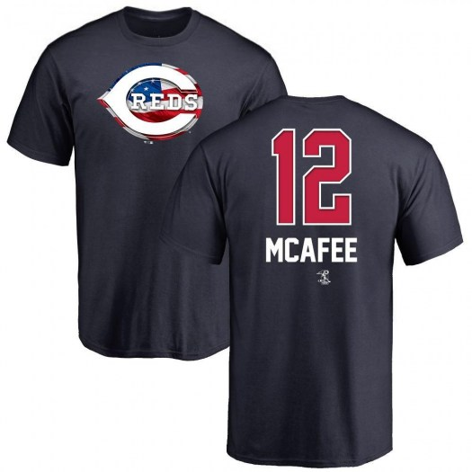 Quincy Mcafee Cincinnati Reds Men's Navy Name and Number Banner Wave T-Shirt -