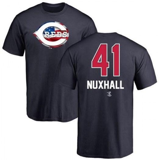 Joe Nuxhall Cincinnati Reds Men's Navy Name and Number Banner Wave T-Shirt -