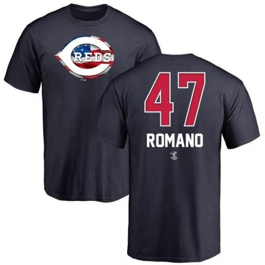 Sal Romano Cincinnati Reds Men's Navy Name and Number Banner Wave T-Shirt -