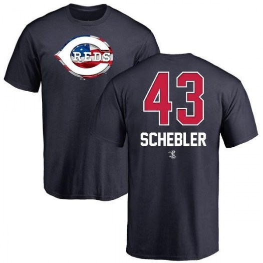 Scott Schebler Cincinnati Reds Men's Navy Name and Number Banner Wave T-Shirt -