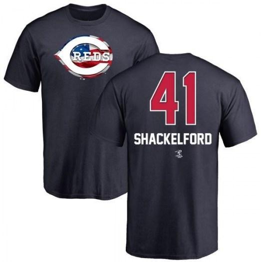Kevin Shackelford Cincinnati Reds Men's Navy Name and Number Banner Wave T-Shirt -