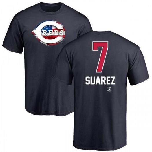 Eugenio Suarez Cincinnati Reds Men's Navy Name and Number Banner Wave T-Shirt -