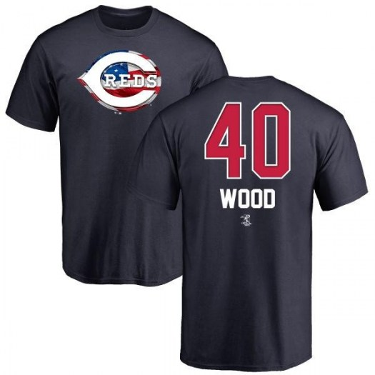 Alex Wood Cincinnati Reds Youth Navy Name and Number Banner Wave T-Shirt -