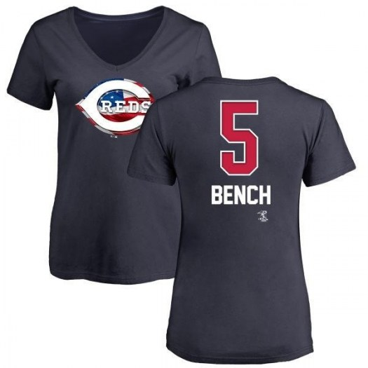 Johnny Bench Cincinnati Reds Women's Navy Name and Number Banner Wave V-Neck T-Shirt -