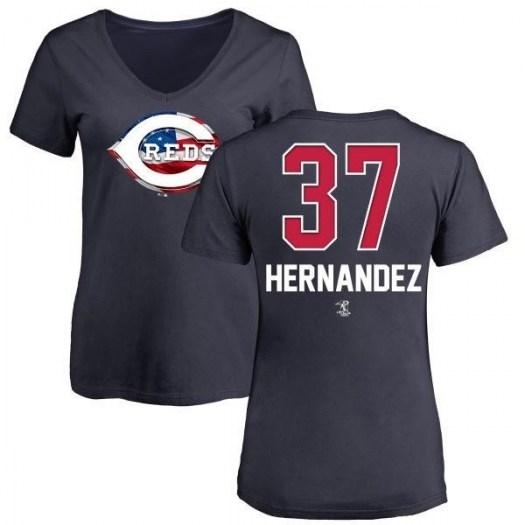 David Hernandez Cincinnati Reds Women's Navy Name and Number Banner Wave V-Neck T-Shirt -