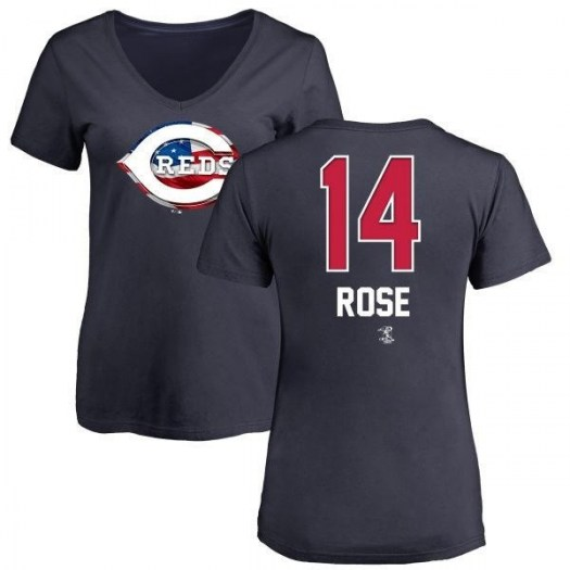 Pete Rose Cincinnati Reds Women's Navy Name and Number Banner Wave V-Neck T-Shirt -