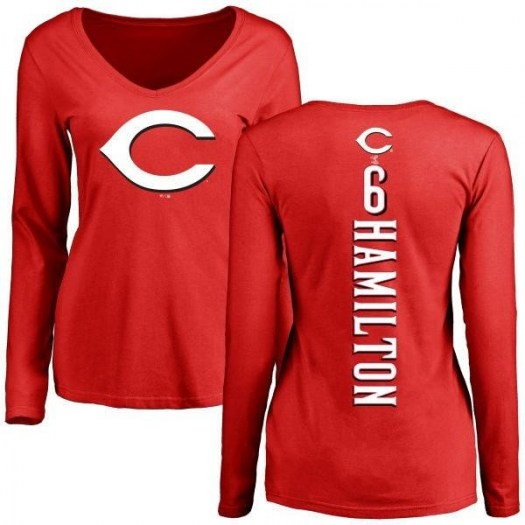 Billy Hamilton Cincinnati Reds Women's Red Backer Slim Fit Long Sleeve T-Shirt -