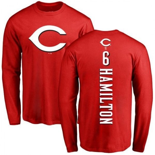 Billy Hamilton Cincinnati Reds Men's Red Backer Long Sleeve T-Shirt -