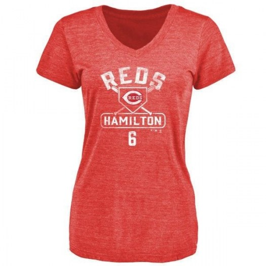 Billy Hamilton Cincinnati Reds Women's Red Branded Base Runner Tri-Blend T-Shirt -
