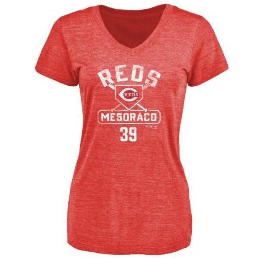 Devin Mesoraco Cincinnati Reds Women's Red Branded Base Runner Tri-Blend T-Shirt -