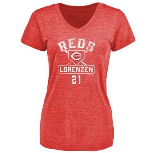 Michael Lorenzen Cincinnati Reds Women's Red Branded Base Runner Tri-Blend T-Shirt -