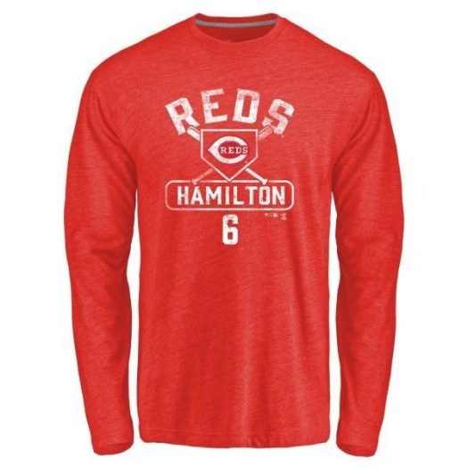 Billy Hamilton Cincinnati Reds Men's Red Branded Base Runner Tri-Blend Long Sleeve T-Shirt -