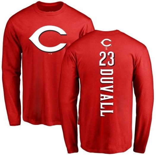 Adam Duvall Cincinnati Reds Youth Red Backer Long Sleeve T-Shirt -