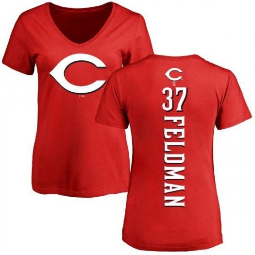 Scott Feldman Cincinnati Reds Women's Red Backer Slim Fit T-Shirt -