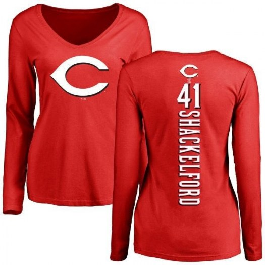 Kevin Shackelford Cincinnati Reds Women's Red Backer Slim Fit Long Sleeve T-Shirt -