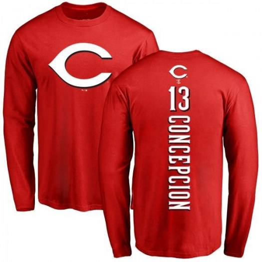 Dave Concepcion Cincinnati Reds Men's Red Backer Long Sleeve T-Shirt -