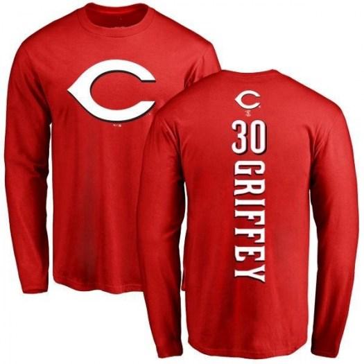Ken Griffey Cincinnati Reds Men's Red Backer Long Sleeve T-Shirt -