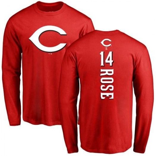 Pete Rose Cincinnati Reds Men's Red Backer Long Sleeve T-Shirt -