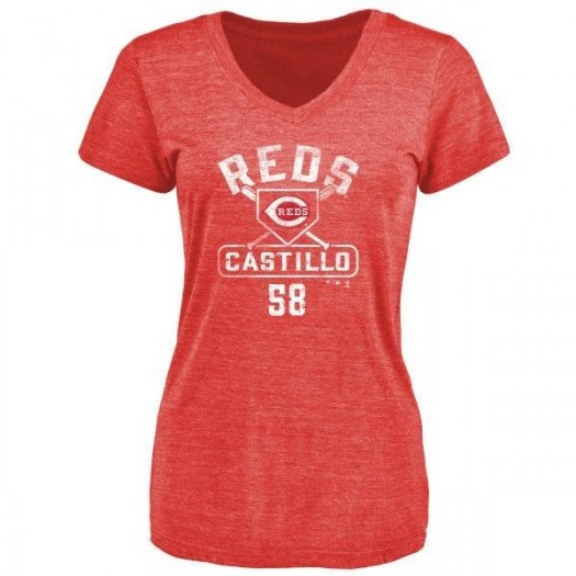 Luis Castillo Cincinnati Reds Women's Red Branded Base Runner Tri-Blend T-Shirt -