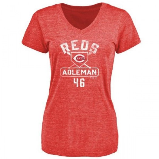 Tim Adleman Cincinnati Reds Women's Red Branded Base Runner Tri-Blend T-Shirt -