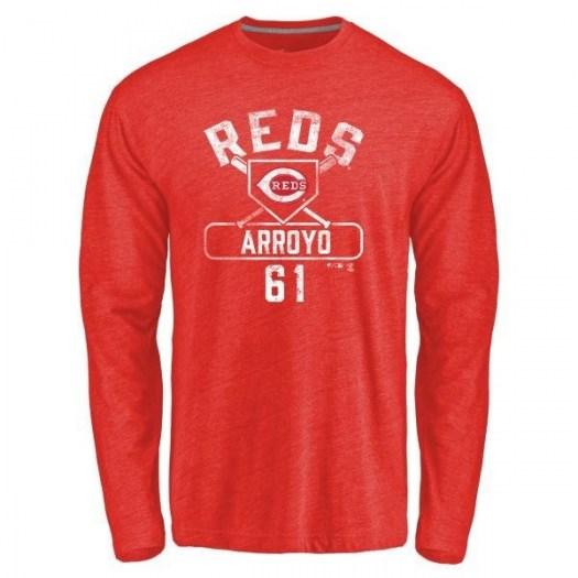 Bronson Arroyo Cincinnati Reds Men's Red Branded Base Runner Tri-Blend Long Sleeve T-Shirt -