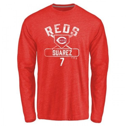 Eugenio Suarez Cincinnati Reds Youth Red Branded Base Runner Tri-Blend Long Sleeve T-Shirt -